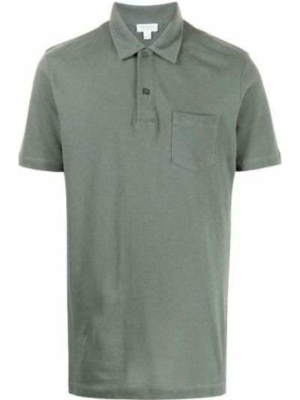Зеленая рубашка с карманами Sunspel