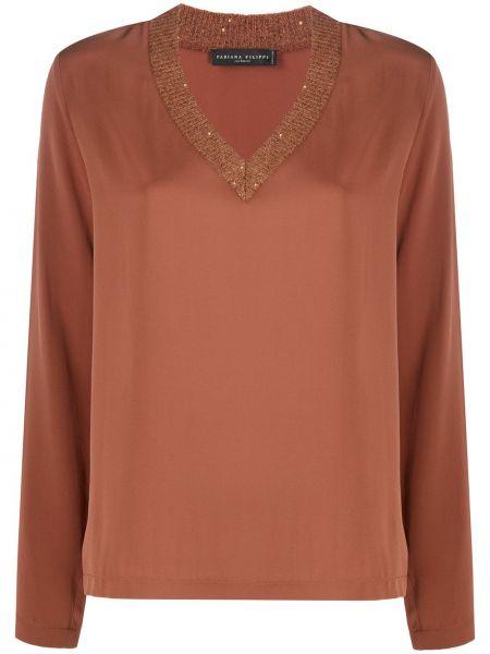 Шелковая с рукавами блузка с пайетками Fabiana Filippi