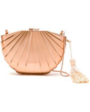 Розовая сумка на плечо металлическая с подкладкой Isla