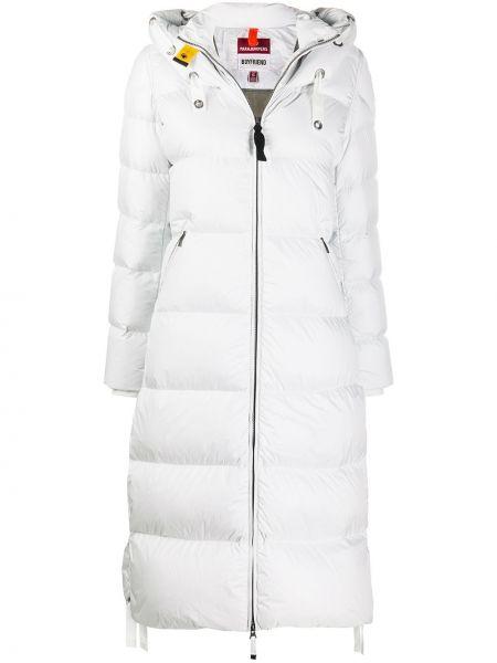 Белое пуховое пальто классическое с капюшоном Parajumpers