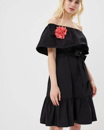 Черное платье с открытыми плечами Cavo