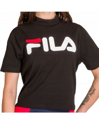 Bawełna czarny t-shirt ze stójką Fila