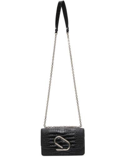Z paskiem czarny torba kosmetyczna z prawdziwej skóry z łatami 3.1 Phillip Lim