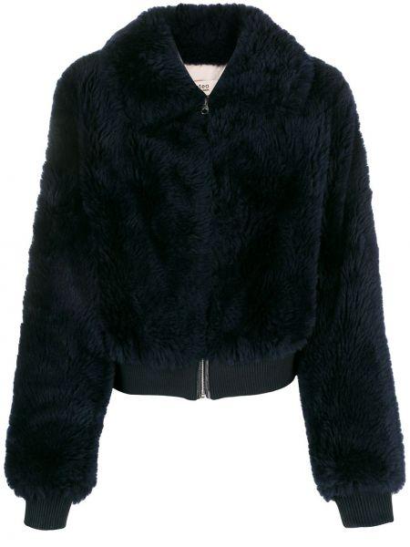 Синяя длинная куртка из искусственного меха с манжетами Yves Salomon Meteo