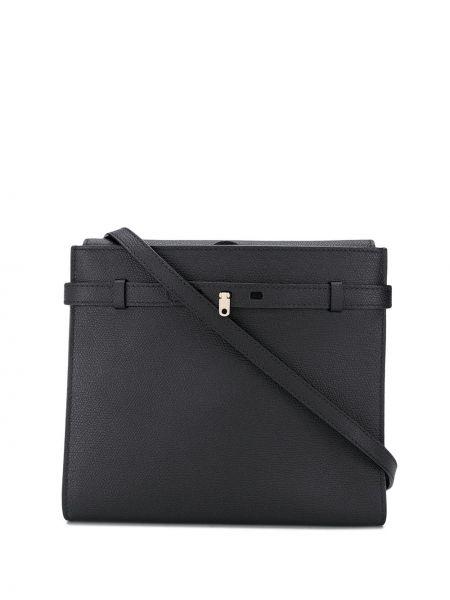 Кожаная черная сумка через плечо с карманами Valextra