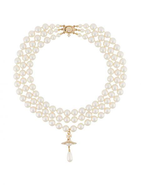 Naszyjnik z perłami złoto z perłami Vivienne Westwood