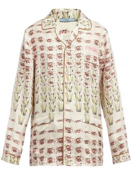 Бежевая шелковая классическая пижама с длинными рукавами Prada