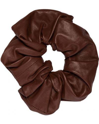 Skórzany brązowy gumka do włosów z falbankami Jil Sander