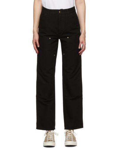 Bawełna czarny jeansy o prostym kroju z kieszeniami z łatami Carhartt Work In Progress