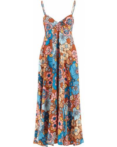 Коричневое платье миди с декольте на бретелях из вискозы Dodo Bar Or