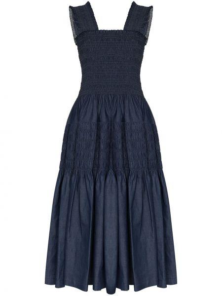 Платье миди со складками синее Molly Goddard