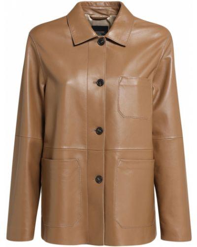 Коричневая кожаная куртка с карманами Weekend Max Mara