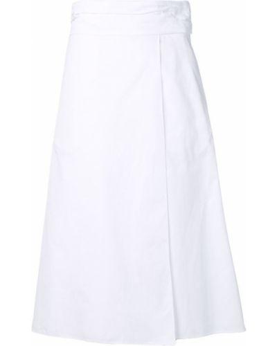 Юбка-трапеция с запахом с завышенной талией Jil Sander Navy