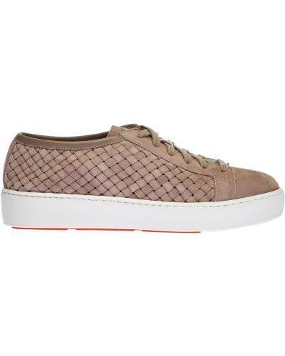 Замшевые классические бежевые кроссовки на шнуровке Santoni