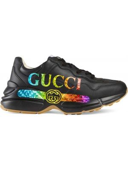 Skórzany czarny skórzane sneakersy zabytkowe Gucci