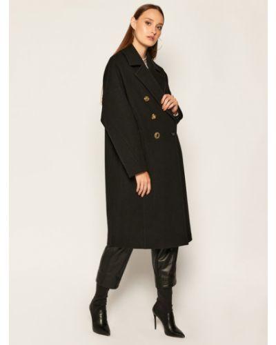 Czarny płaszcz wełniany Pinko