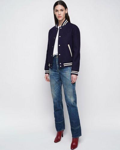 Кожаный пиджак с вышивкой с воротником с карманами Saint Laurent