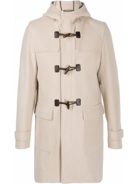 Bawełna beżowy wełniany klasyczny płaszcz z mankietami Herno