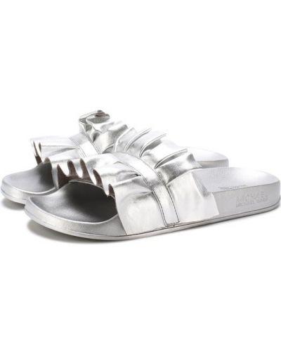 Шлепанцы с оборками серебряный Michael Michael Kors