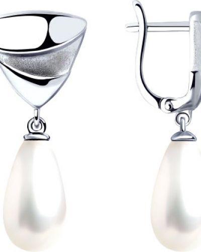 Серьги с жемчугом - серебряные Sokolov