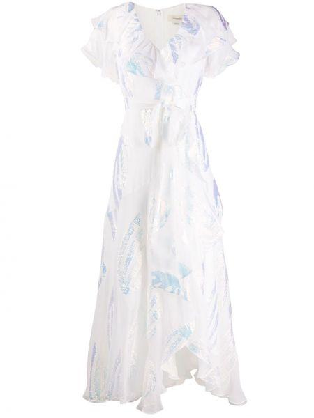 Однобортное шелковое платье макси с V-образным вырезом на молнии Temperley London