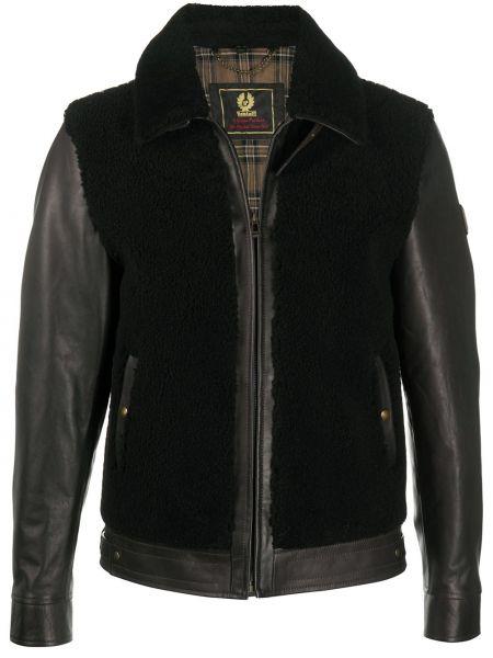 Bawełna klasyczny skórzany czarny długa kurtka Belstaff