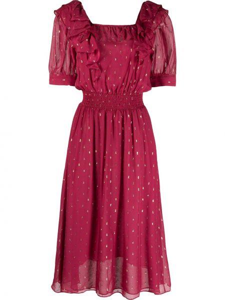 Розовое платье миди в горошек с поясом Ba&sh