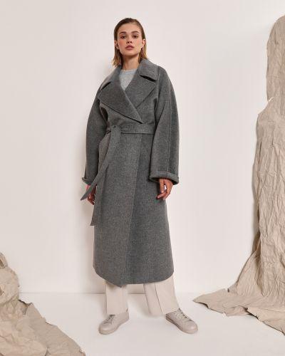 Прямое серое шерстяное пальто 12storeez