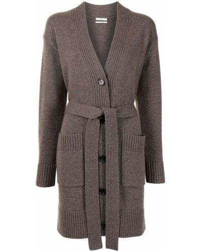 Коричневое кашемировое длинное пальто с поясом Co
