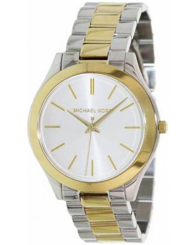 Żółty złoty zegarek kwarcowy w paski Michael Kors