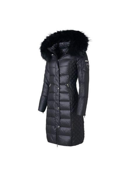 Czarna długa kurtka pikowana z nylonu Rockandblue