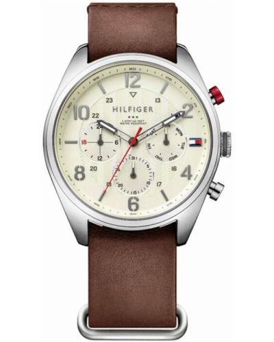 Zegarek na skórzanym pasku skórzany - biały Tommy Hilfiger