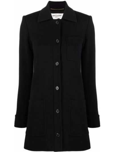 Шерстяное черное длинное пальто с воротником Saint Laurent