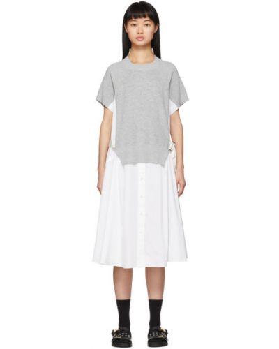 Платье с поясом на пуговицах из поплина Sacai