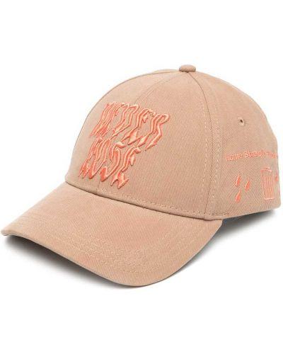 Bawełna bawełna beżowy czapka z daszkiem z haftem Diesel