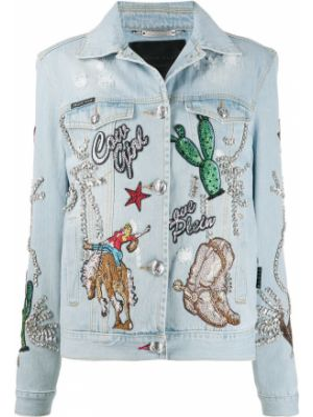 Джинсовая куртка на пуговицах с карманами Philipp Plein