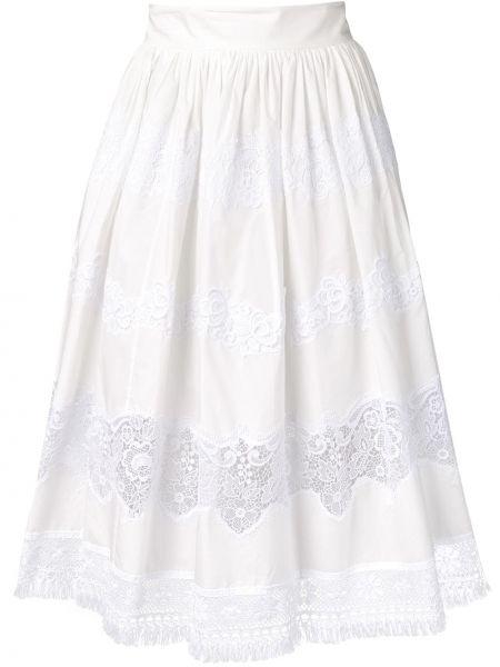 Кружевная белая юбка миди с бахромой Dolce & Gabbana