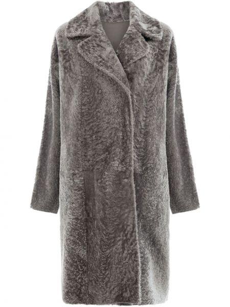 Серая кожаная длинное пальто двусторонняя Drome