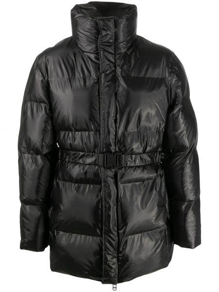 Прямая черная стеганая куртка с поясом с длинными рукавами Rains