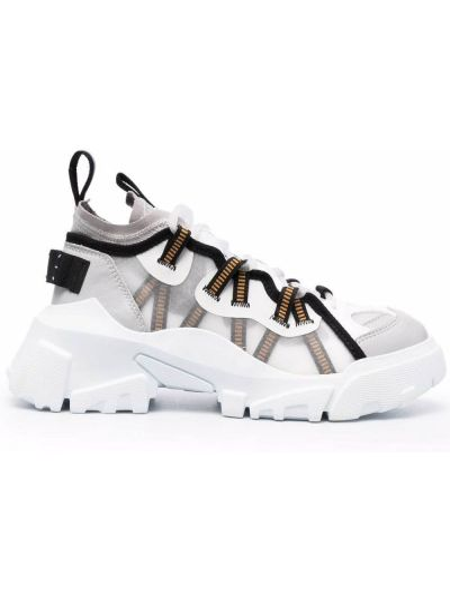 Białe sneakersy skorzane Mcq