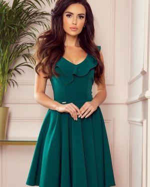 Zielona sukienka z falbanami materiałowa Numoco