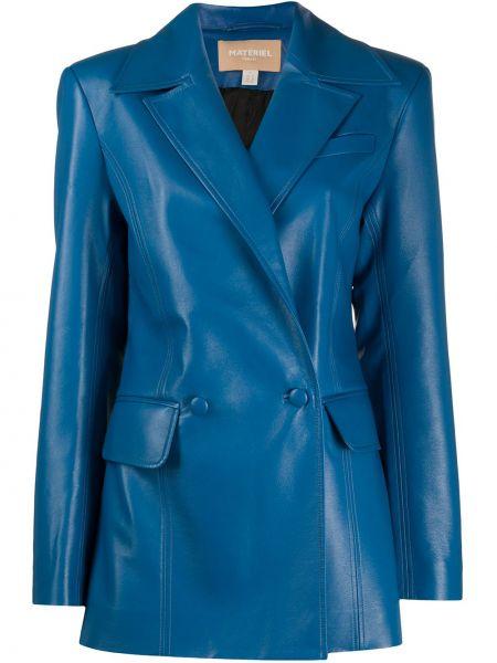 Синий кожаный пиджак двубортный Matériel