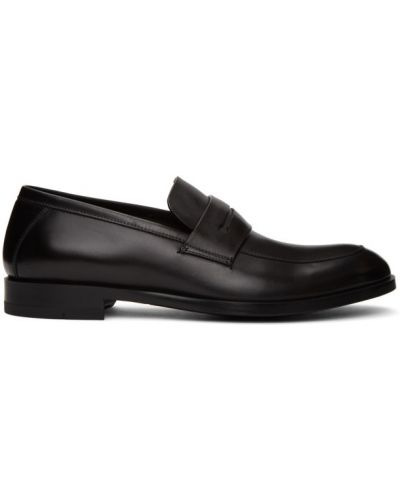 Czarny loafers prążkowany z prawdziwej skóry okrągły Ermenegildo Zegna