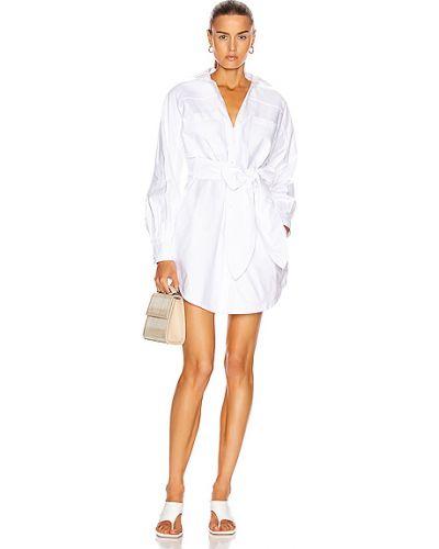 Плиссированное хлопковое белое платье-рубашка Marissa Webb