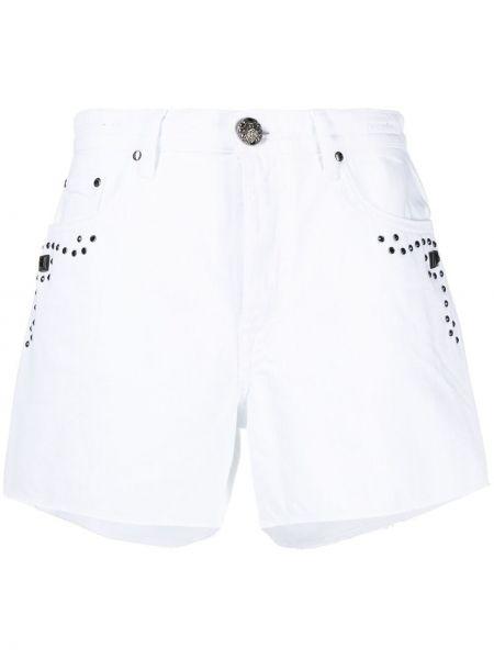 Хлопковые белые джинсовые шорты с заклепками Jacob Cohen