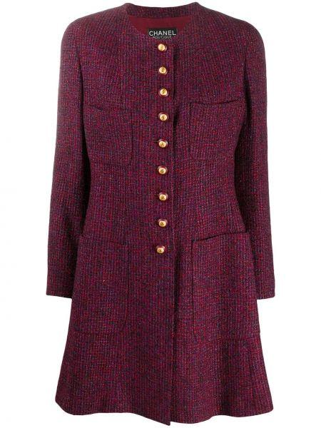 С рукавами шерстяное розовое длинное пальто Chanel Pre-owned