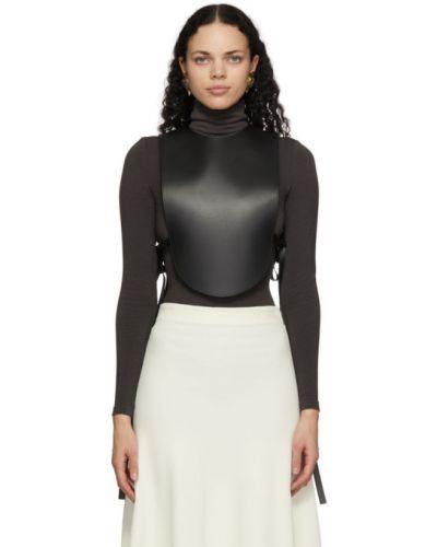 Кожаная черная блузка с воротником без рукавов Loewe