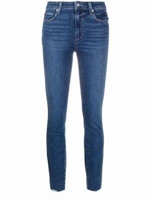 Синие зауженные джинсы с завышенной талией на пуговицах Paige