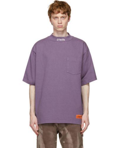 Pomarańczowy t-shirt bawełniany z haftem Heron Preston