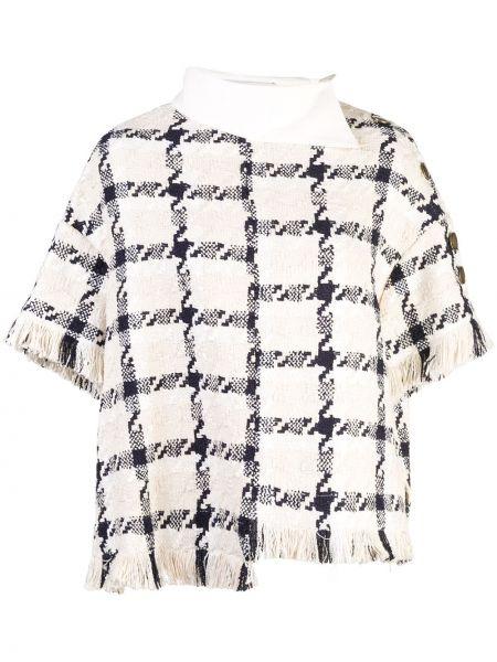 Шерстяной белый пиджак с воротником Monse